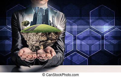 moderno, eco, amichevole, città, e, ecologia, concepts.