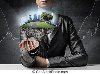 moderno, eco, amistoso, ciudad, y, ecología, concepts.