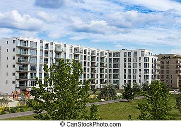moderno, edificio apartamento, exterior