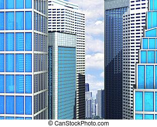 moderno, edificio de cristal, de, rascacielos, en, el, city., 3d, ilustración