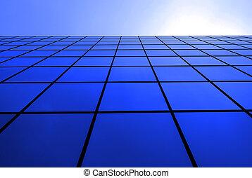 moderno, edificio de oficinas, con, reflejar, windows
