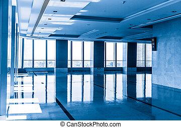 moderno, edificio de oficinas, interior