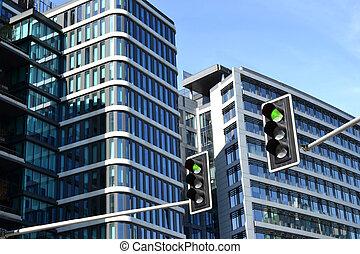 moderno, edificio de oficinas, luces de calle, -, verde