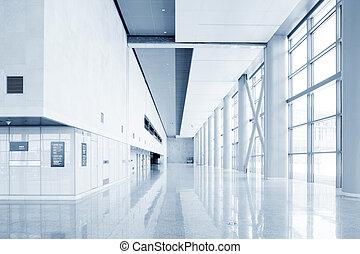 moderno, edificio de oficinas, vestíbulo, interior, de, urbano, ciudad
