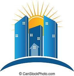 moderno, edificios, con, sol, logotipo