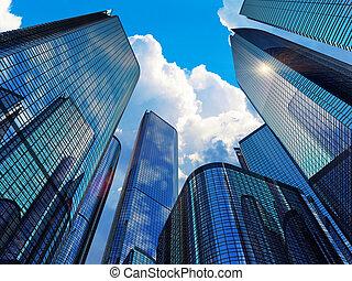 moderno, edificios, empresa / negocio