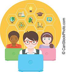 moderno, educación, computadora