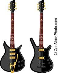 moderno, eléctrico, guitars., plano, design., vector, illustration.