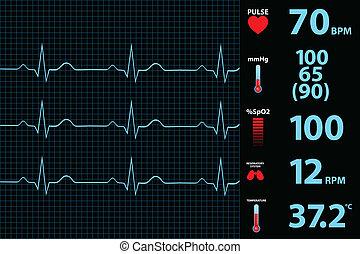 moderno, electrocardiograma, monitor
