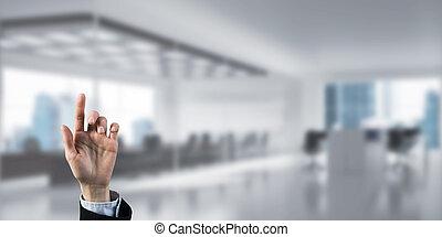 moderno, elegante, businessperson, scegliere, interno, gesto
