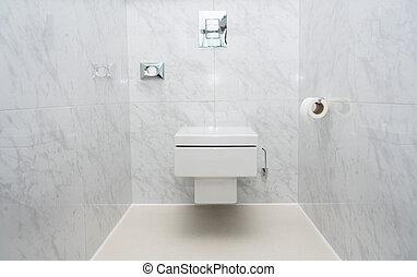 moderno, embaldosado, wc, o, tazón de fuente del tocador,...