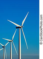 moderno, enrolle turbinas, o, molinos, proporcionar, energía