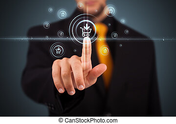 moderno, envío, botones, planchado, hombre de negocios, ...
