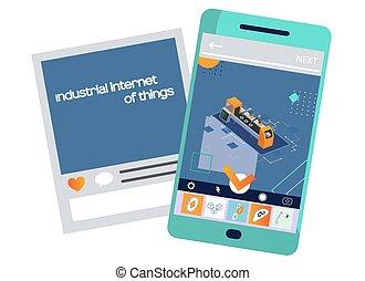 moderno, equipo, maquinaria industrial, autónomo, producción, fabricación, brazo, robótico