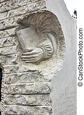 moderno, escultura, en, piedra, tributo, a, literatura