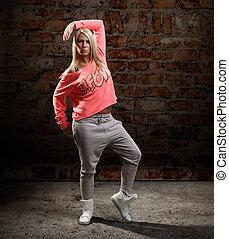 moderno, estilo, bailarín