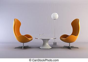 moderno, estilo, salón, habitación