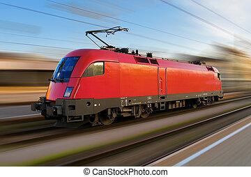 moderno, europeo, eléctrico, locomotora