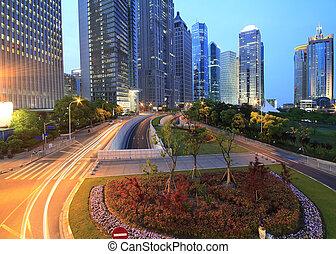 moderno, finance&trade, zona, arquitectura, backgro, lujiazui, urbano