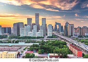 moderno, financiero, contorno, distrito, beijing, china