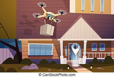 moderno, fuco, sorvolare, casa, costruzione, con, scatola, aeri trasporto, e, consegna, tecnologia, concetto