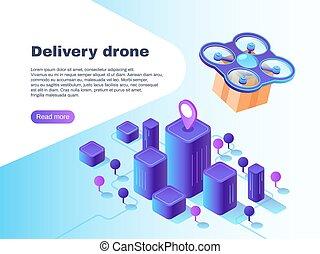 moderno, futuristico, consegna, sistema, con, unmanned, drone., volo, copter, trasmettere, distribuire, pacchetto, vettore, concetto, illustrazione