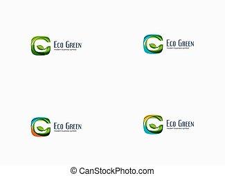 moderno, g, lettera, verde, eco, concetto, ditta, logotipo