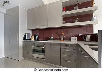 moderno, gastrónomo, cocina, interior