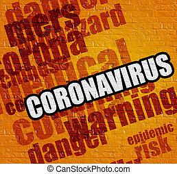 moderno, giallo, concept:, sanità, coronavirus, muro di mattoni