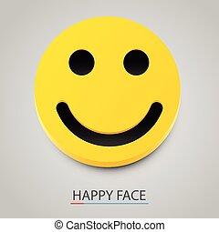 moderno, giallo, vettore, ridere, smile., felice