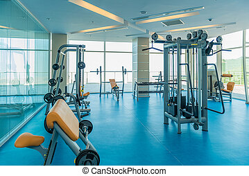 moderno, gimnasio, con, vario, equipo de deportes