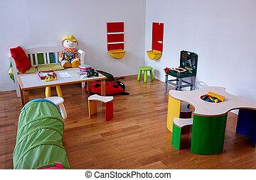 moderno, gioco, stanza bambini