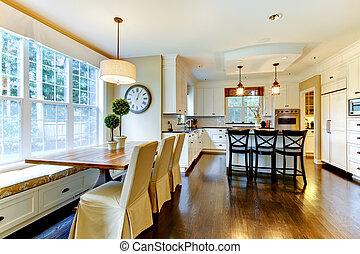 moderno, grande, cenando, lusso, tavola, bianco, cucina