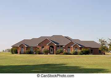 moderno, grande, ranch, stile, casa mattone