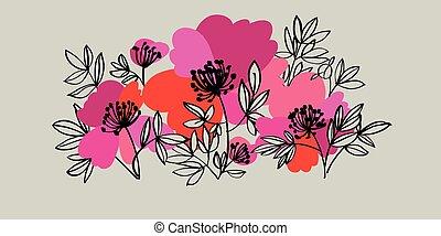 moderno, grande, vívido, flores, peonía, estilo