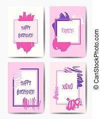 moderno, grunge, compleanno, cartoline