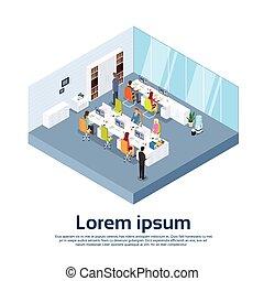moderno, gruppo, ufficio affari, persone, lavoro, interno