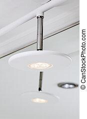 moderno, hightech, bianco, condotto, sfumatura lampada