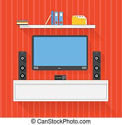 moderno, hogar, medios, sistema entretenimiento, ilustración