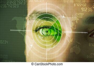 moderno, hombre, con, cyber, tecnología, blanco, militar, ojo