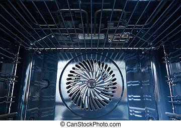 moderno, horno, construido, con, ventilador