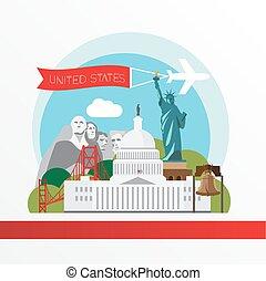 moderno, ilustración, de, estados unidos de américa, landmarks., capitolio, statue of liberty, puente de la puerta de oro, campana libertad, y, monte rushmore, nacional, memorial.