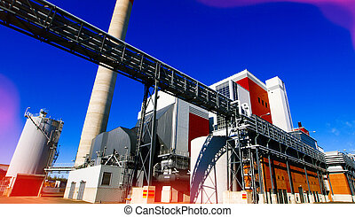 moderno, industriale, fabbrica, contro, cielo blu