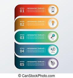 moderno, infographic, opzioni, bandiera, con, 5, passi, opzioni, parts.