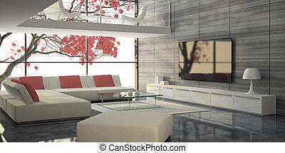 moderno, interior, con, blanco, sofás, y, rosa, árbol