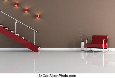 moderno, interior, con, escalera