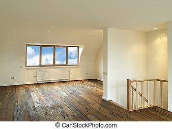 moderno, interior, con, piso de madera