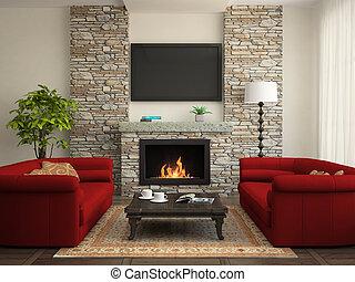 moderno, interior, con, rojo, sofás, y, chimenea