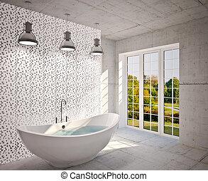 moderno, interior, cuarto de baño
