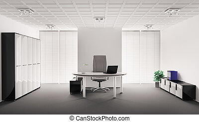 moderno, interior de la oficina, 3d